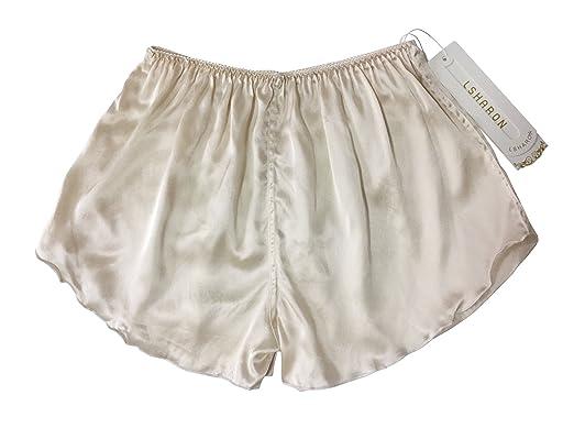 62c42494bf LSHARON Lady s 100% Mulberry Silk Sleepwear Shorts Underwear Nightwear  Shorts Boxer Shorts (Beige)  Amazon.co.uk  Clothing