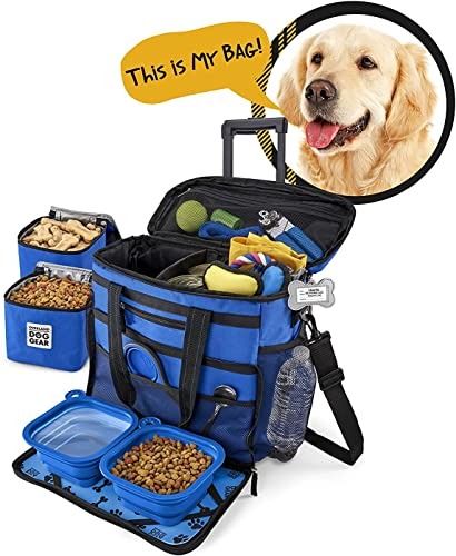 Rolling Dog Travel Bag - Week Away Tote with Wheels for Med and Large Dogs Blue