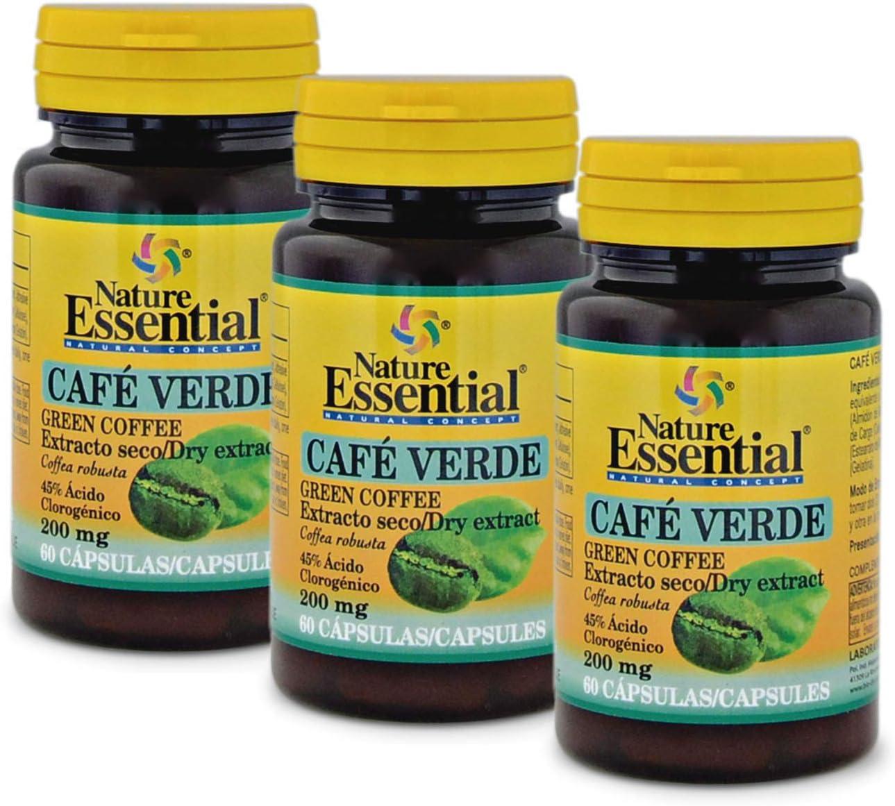 Café verde 200 mg. (ext. seco 45% ácido clorogénico) 60 capsulas (Pack 3 unid.)