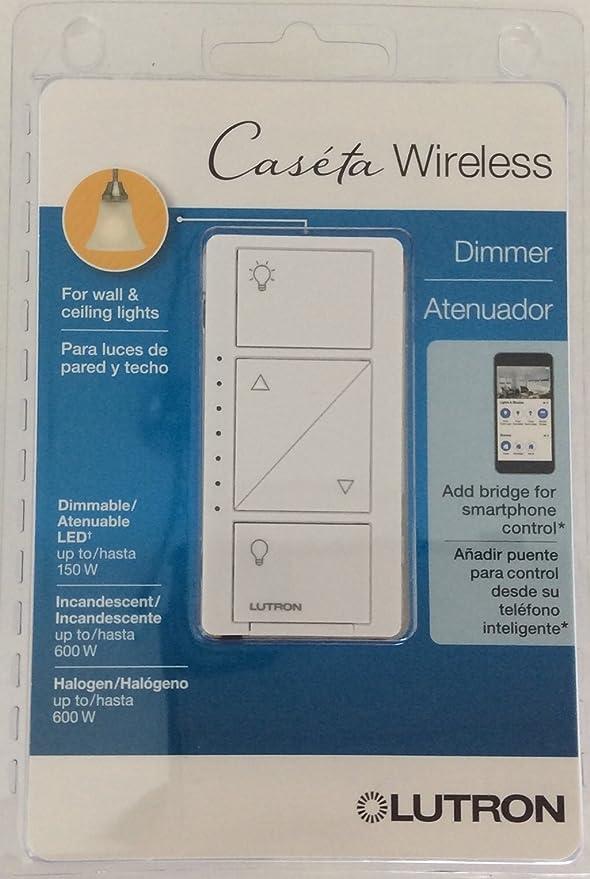 Lutron PD-6WCL-WH-R Caseta Wireless 150-Watt Multi-Location In-Wall ...