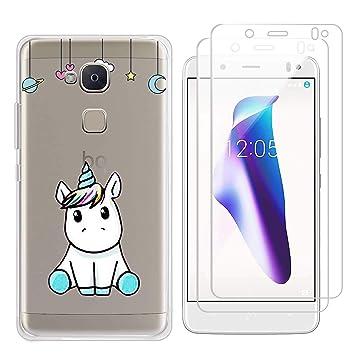 kaliter Funda BQ Aquaris V,Unicornio Suave Transparente TPU Gel Silicona Protectora Smartphone Carcasa para BQ Aquaris V/VS con Dos Cristal Vidrio ...