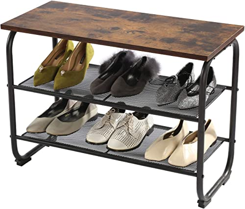 GOOD GRACIOUS Entryway Shoe Rack Bench, 2-Tier Small Shoe Storage Bench, Metal Wood Shoe Organizer for Door, Garage Small Space, Rustic Brown