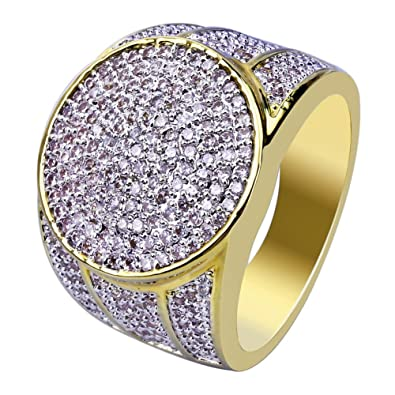 JINAO 18K Gold Plated Iced Out Simulated Diamond Micropave CZ Mens Hip Hop  Bling Ring 91a83a713a2e