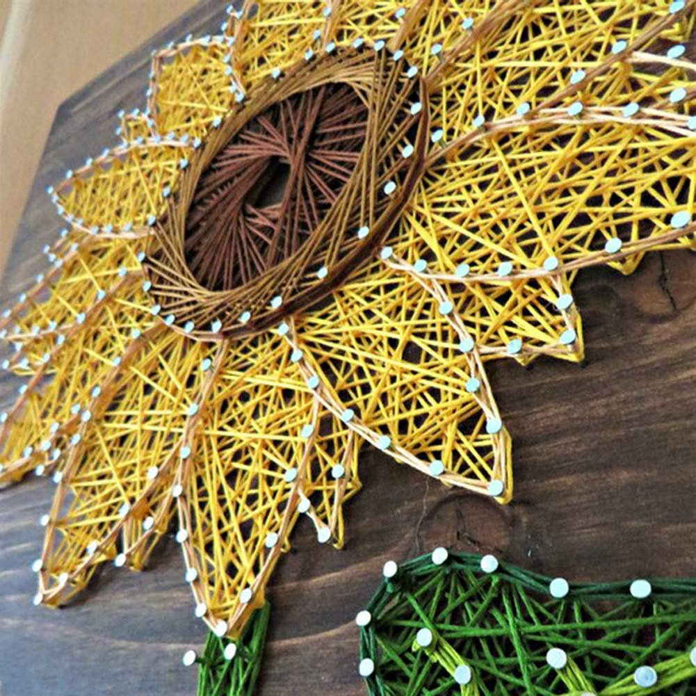 Home Decoration DIY Sunflower Three-Dimensional Thread String Silk Painting, Mural DIY Material Package Decompression Desktop Decoration Ornaments, Parent-Child Manual Interactive Game by Home Decoration (Image #5)