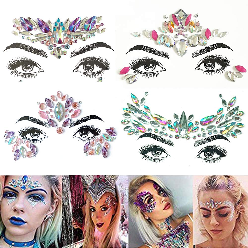 TEAMWIN Face Gems 4 Sets, Self-adhesive Face Jewel Eyes Face Makeup Stickers Body Forehead DecorationsCrystal Temporary Tattoo Stickers