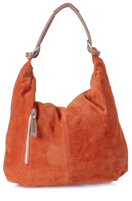 2a058f3348e9 Amazon.com  Real Italian Handmade Suede Leather Large Hobo Shopper Shoulder  Bag Purse (Burnt Orange)  Shoes