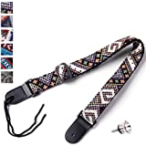 CYC Music Jacquard Weave Colourful National Wind Genuine Leather Guitar Strap + Strap Lock ( N01-07 )