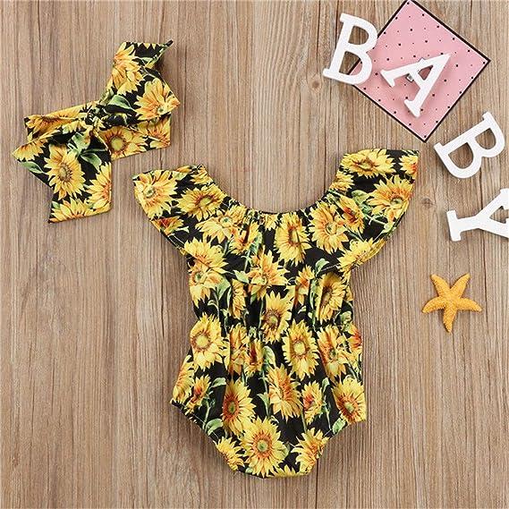 Wide.ling Conjunto de Mono de Flores para reci/én Nacido con Estampado de Ropa para ni/ñas para ni/ñas y beb/és