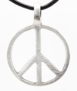 Amazon sterling silver peace sign pendant necklace peace sign pewter classic peace sign love hippie pendant on leather necklace aloadofball Images