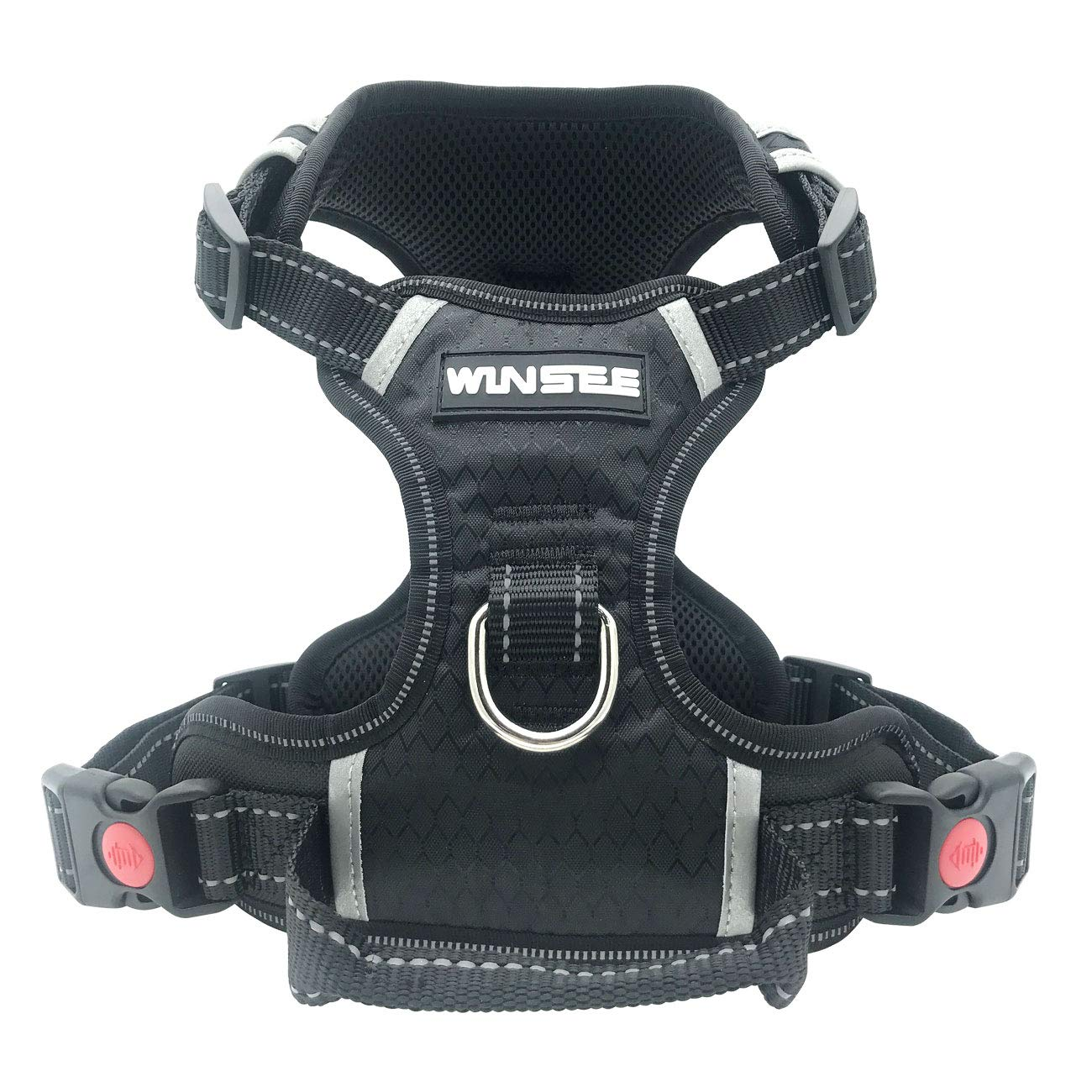 WINSEE Dog harness, no-pull comfort pet vest harness safety Adjustable dog vest harness for large dogs Reflective Oxford Material Easy Control Harness black