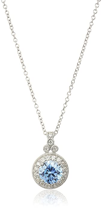 2d60f7d0fca84 Platinum-Plated Sterling Silver Swarovski Zirconia Round-Cut Antique  Pendant Necklace, 18