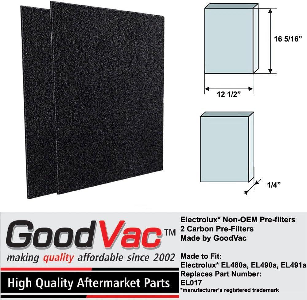 Electrolux purificador de aire pre-filtro de carbono non-OEM EL490 EL480 2 unidades, sustituye a EL017 por goodvac: Amazon.es: Hogar