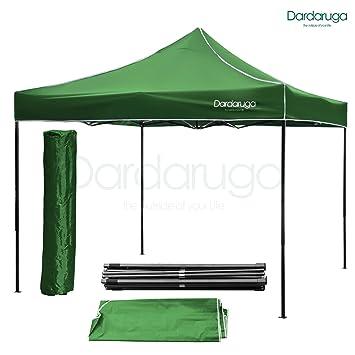 Cenador plegable, 3 x 3 m, plegable, de tipo acordeón, para ferias, pérgolas, con bolso, color verde: Amazon.es: Jardín