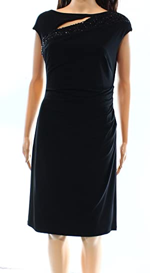 Lauren Ralph Lauren Women's Sheath Embellished Dress Black 10