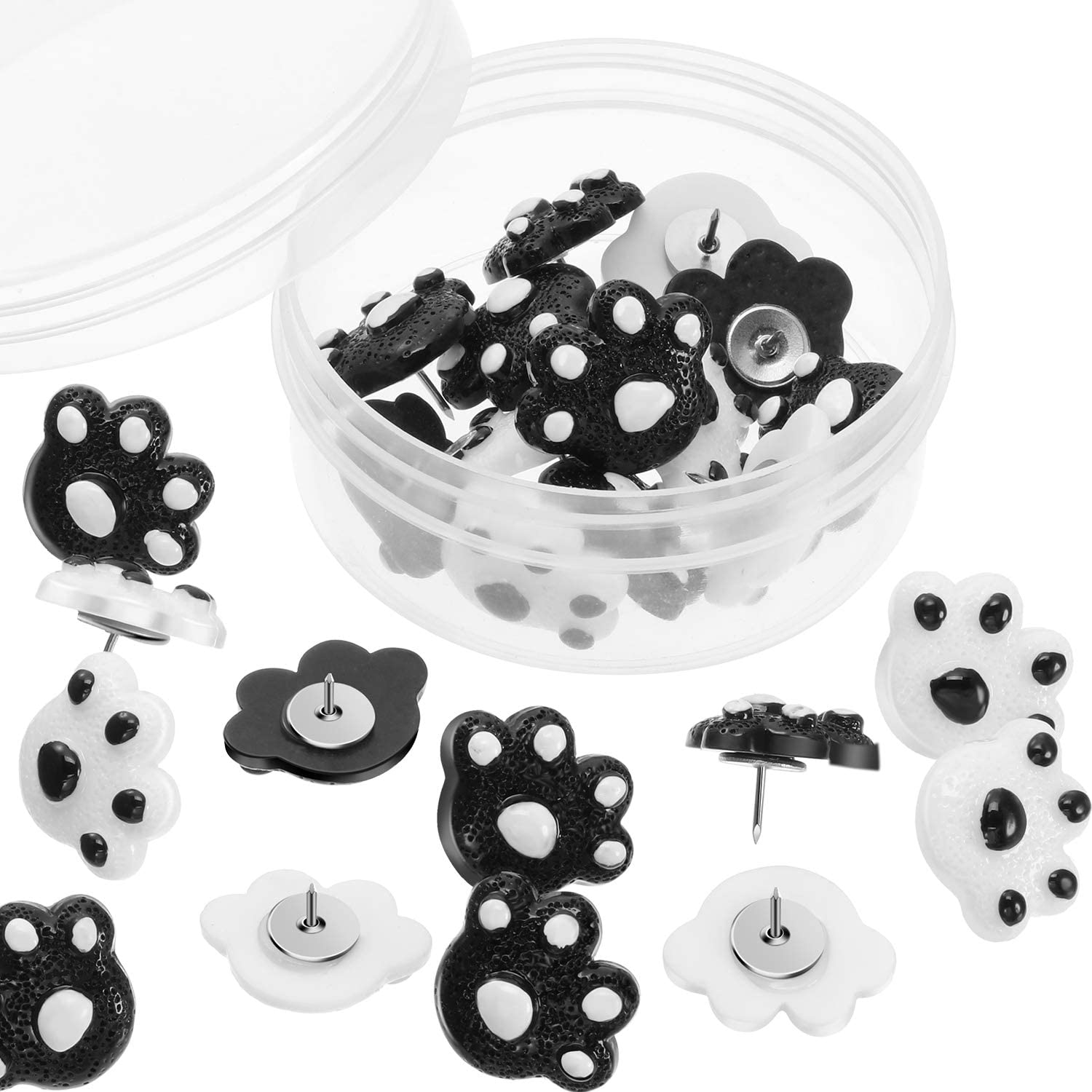 25 Pieces Paw Print Push Pins Animal Paw Thumb Tacks Decorative Pushpins for Cork Boards Home and Office (Color 1)