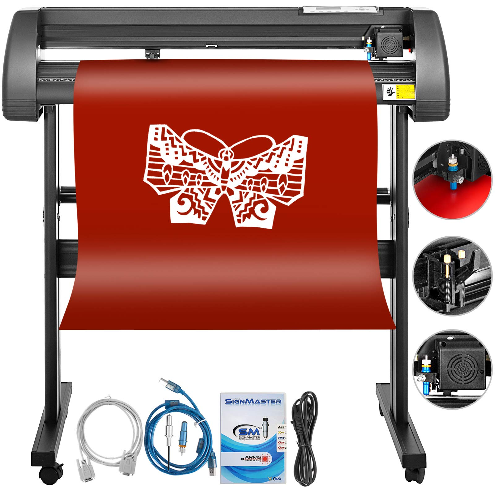 Mophorn Vinyl Cutter 34 Inch Vinyl Cutter Machine 870mm Vinyl Printer Cutter Machine LCD Display Vinyl Plotter Cutter Machine Signmaster Software Sign Making Machine with Stand