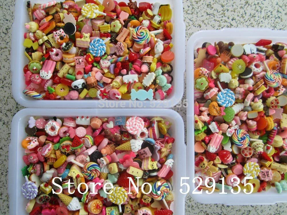ZAMTAC Wholesale Mix Cute Food, 1000pcs/lot, Resin Cabochon for Phone Deco, DIY,