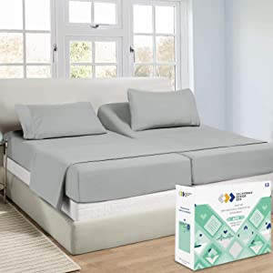 Hotel Split King Sheets Sets for Adjustable Bed, 100% Cotton 600 TC Sateen Thick, Soft & Crisp, 5pc Set with 2 Twin-XL Fitted Sheets, Deep Pocket (Light Gray)