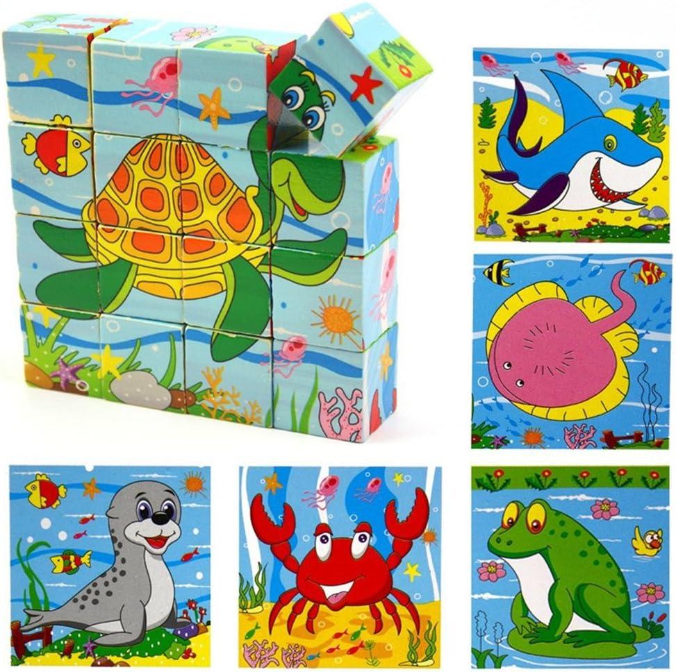 PROW 16 piezas Rompecabezas de madera maciza incluyendo tortuga peces rana sello Tibur/ón cangrejo cubo bloques de juguete Promover la coordinaci/ón mano-ojo Bloques de construcci/ón seguros y no t/óxicos