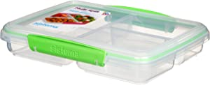Sistema To Go Multi Split Food Storage Container, Clear with Coloured Clips, 820 ml