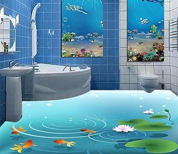 Weaeo Parquet 3D 3D Chez Lotus Pond Marbre Peinture Papier Peint ...