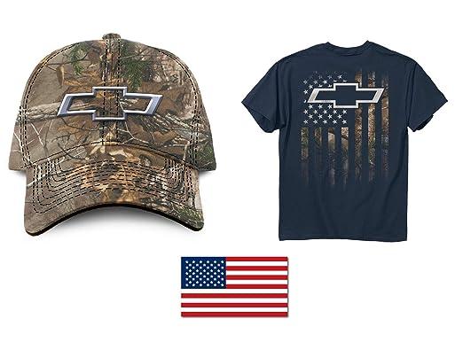 Chevy Bowtie Camo Hat + Men s American Flag Chevy Bowtie T-Shirt 2X +  American 5b9ed3d0ce0