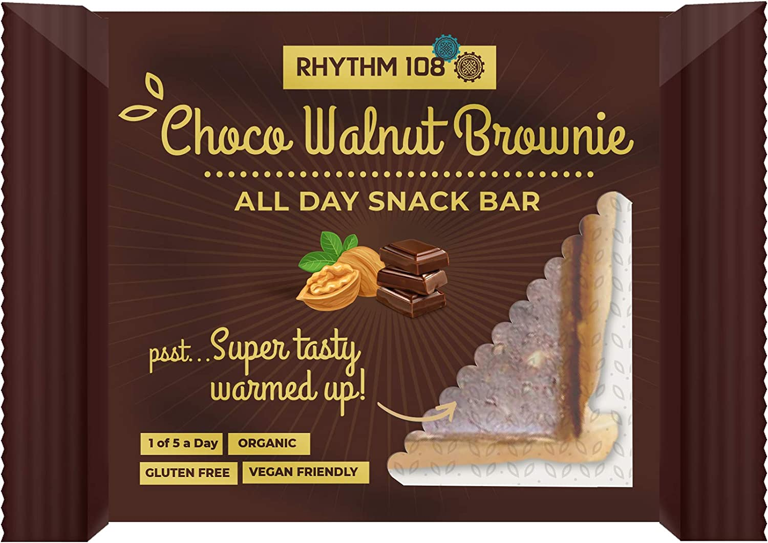 Rhythm 108 Organic Gluten Free Choco Walnut Brownie Dessert Bars – 12x40g