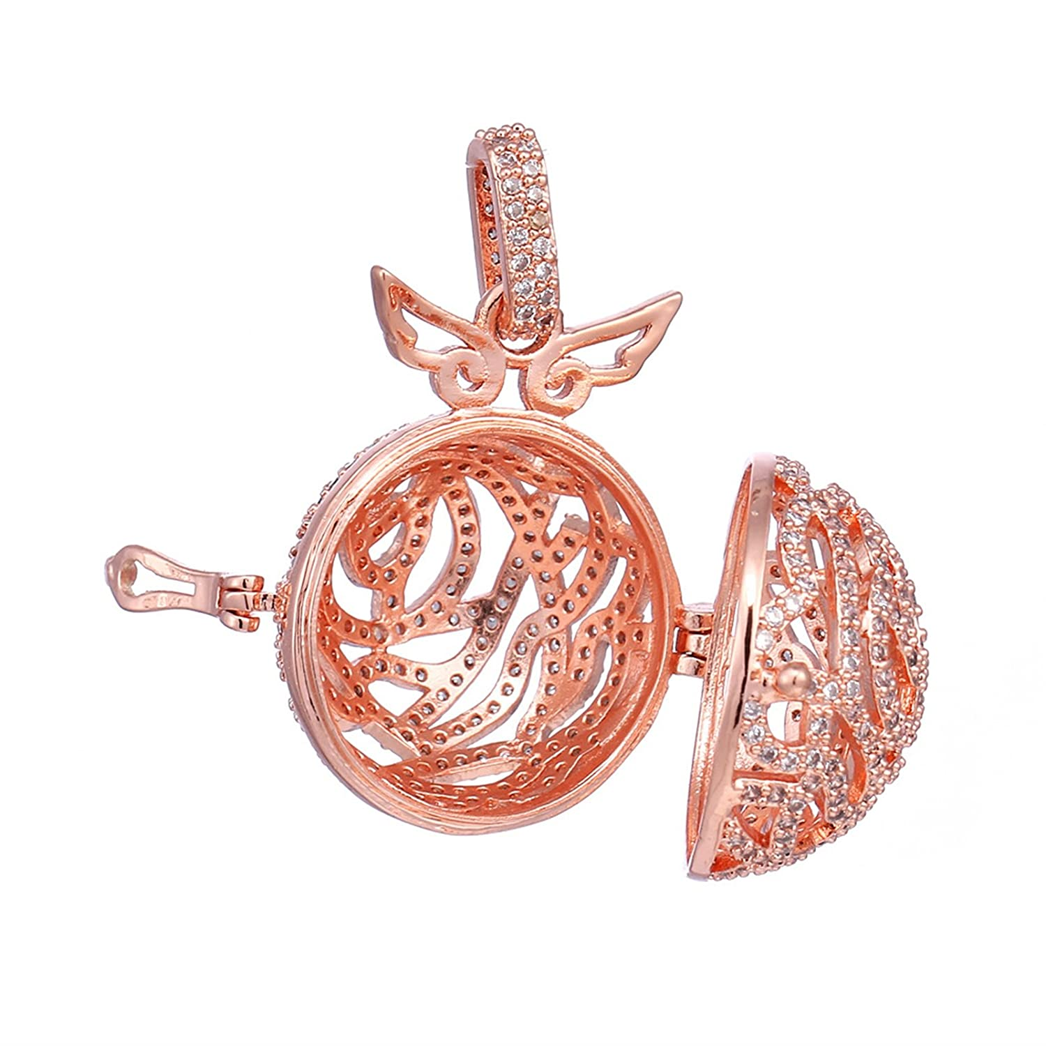 Beydodo Aromatherapy Diffuser Necklace Oils Hollow Round Wing White Cubic Zirconia