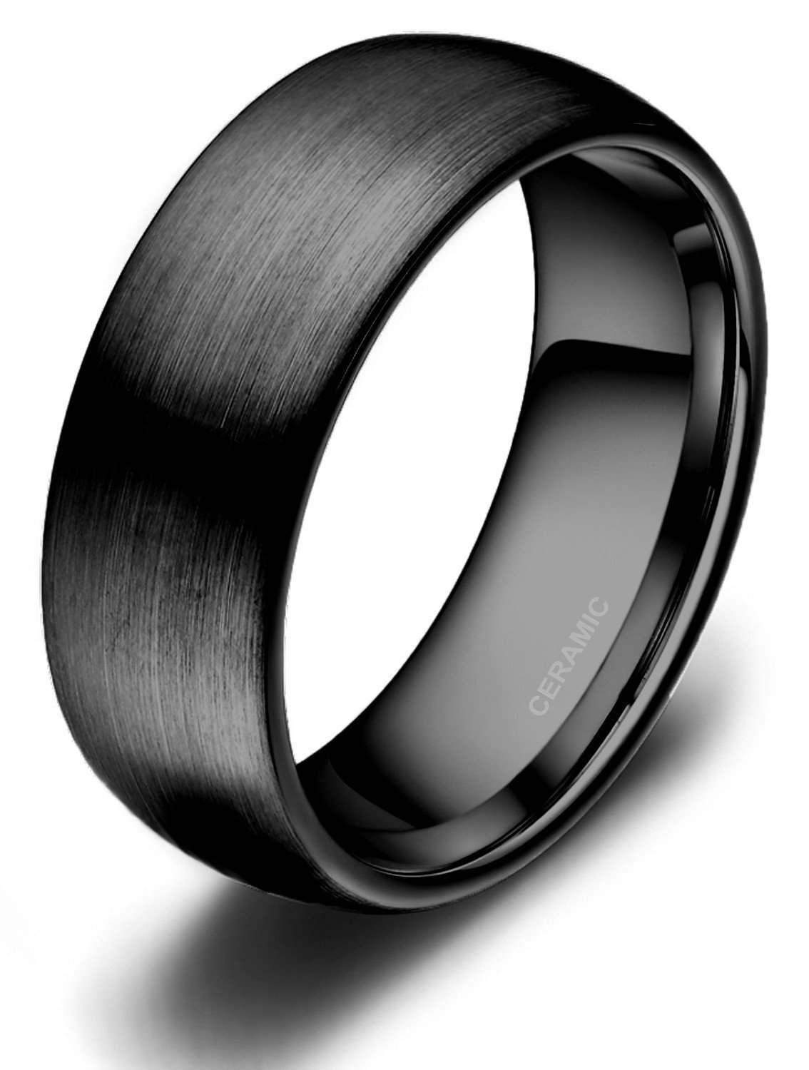 Black Ceramic Rings Brushed Comfort Fit Engagement Wedding Band,metal type 8mm ,size 11