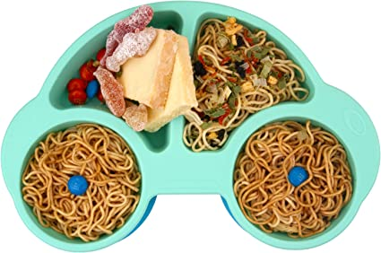 Qshare Toddler Plate Dishwasher /& Microwave Safe Silicone Placemat 24 * 17 * 3cm Portable Baby Plates for Toddlers and Kids BPA-Free FDA Approved Strong Suction Plates for Toddlers