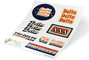 Delta Delta Delta 70's Themed Sticker Sheet Decal Laptop Water Bottle Car tri Delta (70's Sheet)