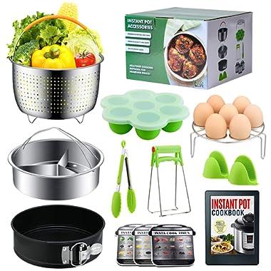 Instant Pot Accessories Set by LeafLife | Compatible with 5,6,8 Qt Instapot- Steamer Baskets, Springform Pan, Egg Bites Mold & More (BONUS RECIPES)