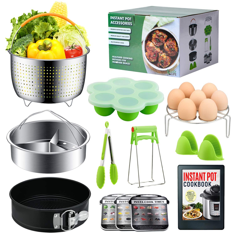 Instant Pot Accessories Set by LeafLife | Compatible with 5,6,8 Qt Instapot- Steamer Baskets, Springform Pan, Egg Bites Mold & More (BONUS RECIPES) by LeafLife (Image #1)
