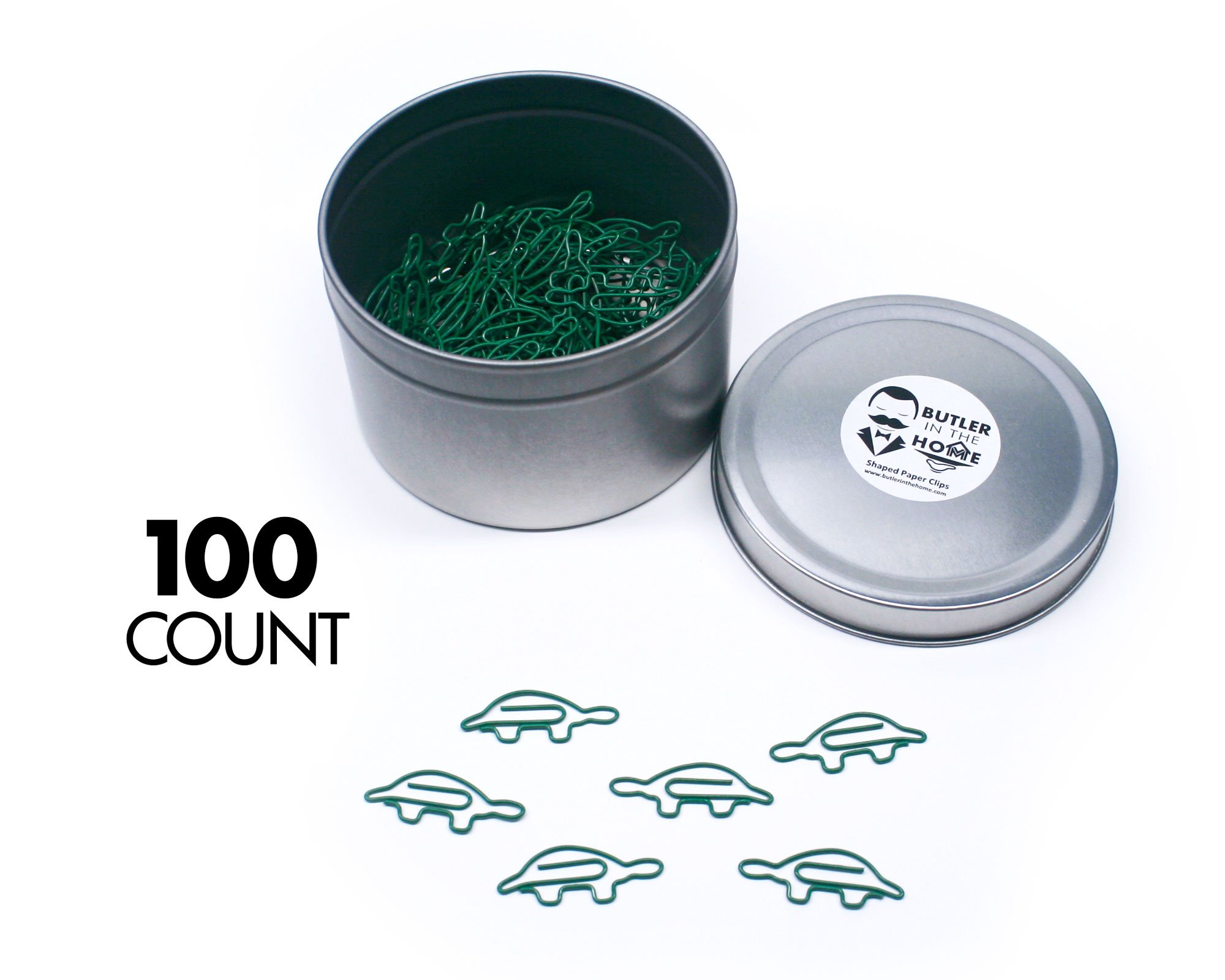 Butler in the Home Turtle Shaped Paper Clips Great For Paper Clip Collectors or Office Gift - Comes in Round Tin with Lid and Gift Box (100 Count Green)