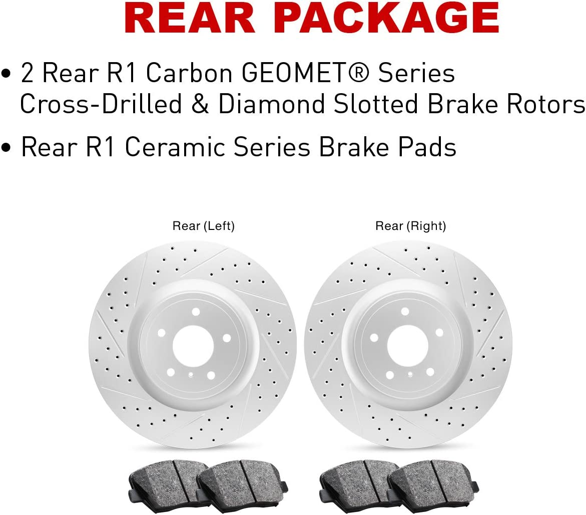 Rear R1 Concepts KEOE11124 Eline Series Replacement Rotors And Ceramic Pads Kit