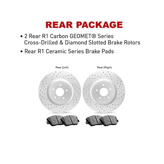 Ceramic Brake Pads Front Set R1 Carbon Geomet Drill//Slot Brake Rotors