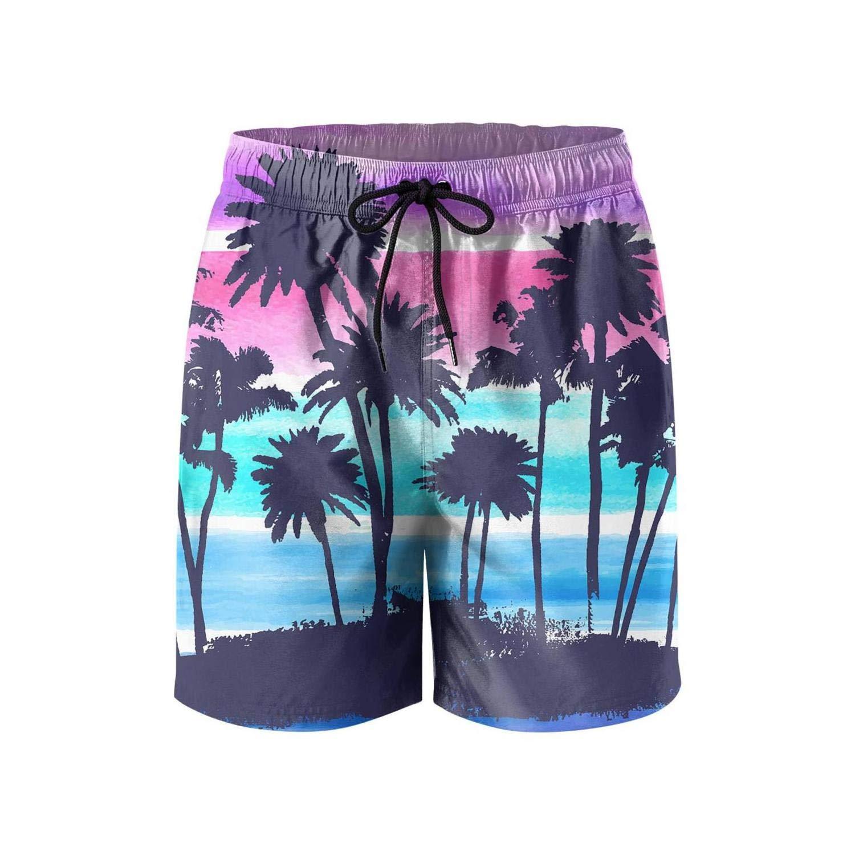 Hawaii Palm Trees Sunset Sky Young Men Board Shorts Bermuda Street Swimwear