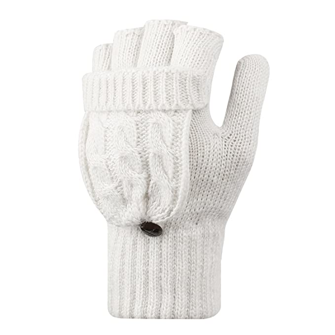 LHZY Mujeres Invierno Caliente Fingerless Knitted mitones con tapa ...