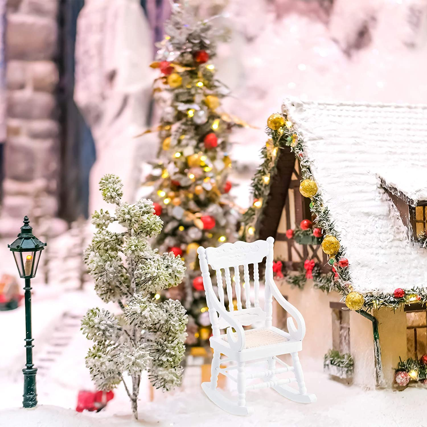 Jetec Doll House Wooden Chairs 1:12 Scale Christmas Dollhouse Model Chairs Mini Dollhouse Wooden Rocking Chairs for Dollhouse Decoration Favors