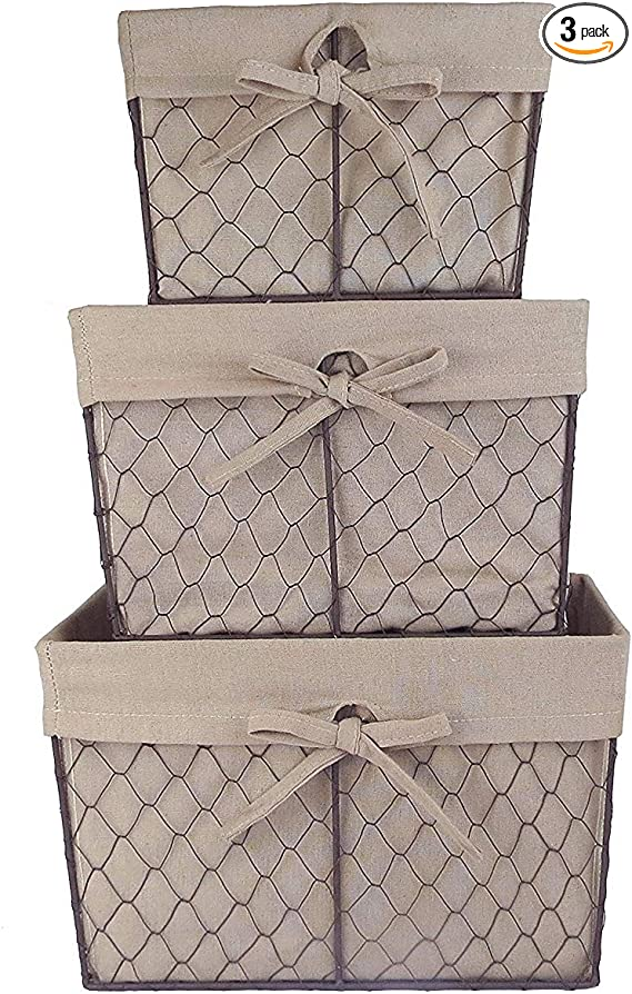 Dii Farmhouse Chicken Wire Storage Baskets With Liner Natural Assorted S 3 3 Piece Home Kitchen Amazon Com