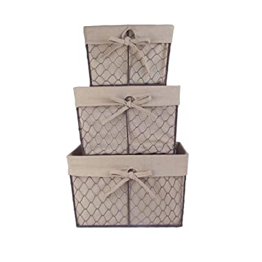 DII Vintage Chicken Wire Basket Removable Fabric Liner, Assorted Set of 3, Natural