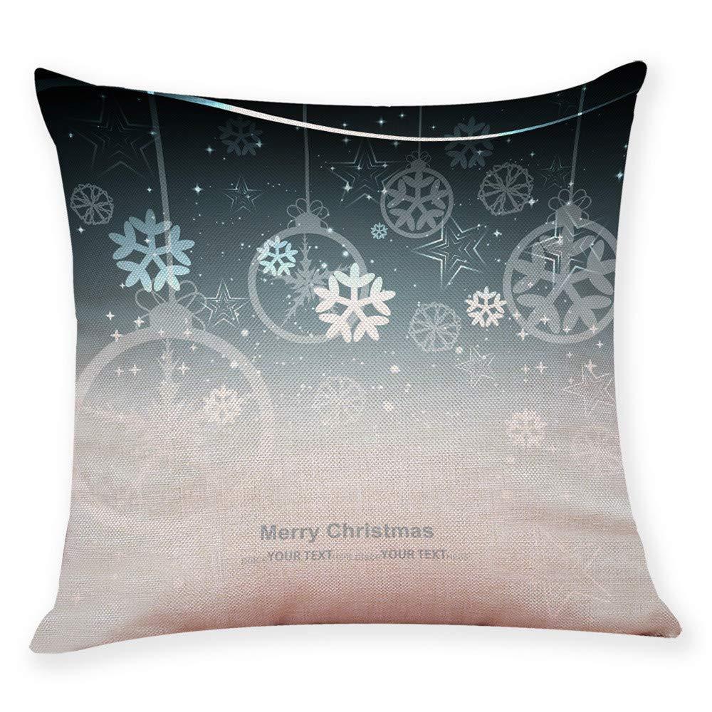 Pgojuni Pillow Case Cotton Linen Cushion Cover Merry Christmas Xmas Snow Printing Pillow Case Cushion Cover for Sofa/Couch 1pc 45X45 cm (A)