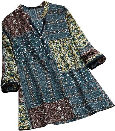 Vectry Camisa Mujer Vintage Folk Style Impresión Button Cuello En V Manga Larga Top T-Short Blusa Camisa Otoño Verano Playa Y Fiesta: Amazon.es: Ropa y accesorios