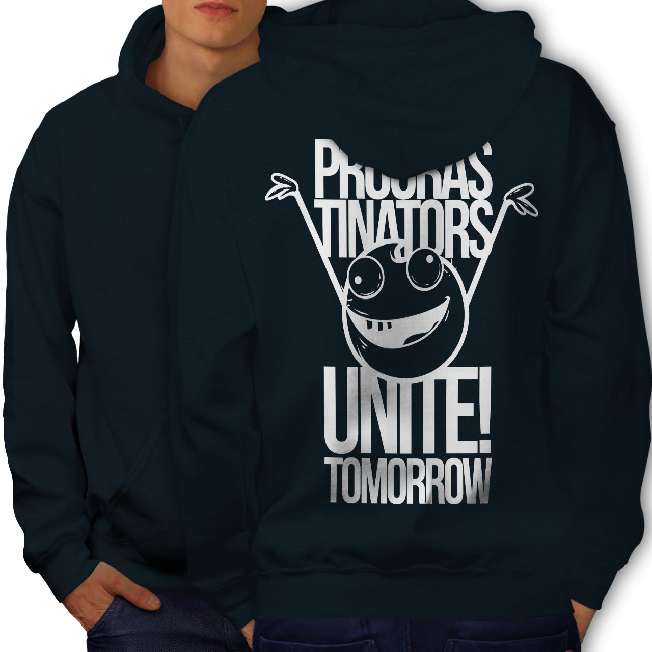 Tomorrow Printed on The Jumpers Back wellcoda Happy Smile Unite Mens Hoodie