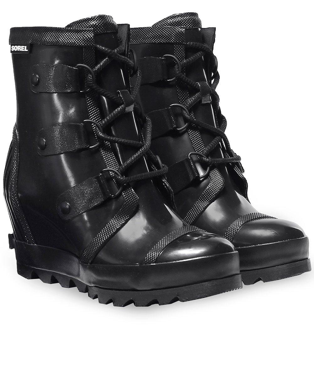 SOREL Women's Joan Rain Wedge Gloss Black/Sea Salt Ankle-High Rubber Boot - 7.5M