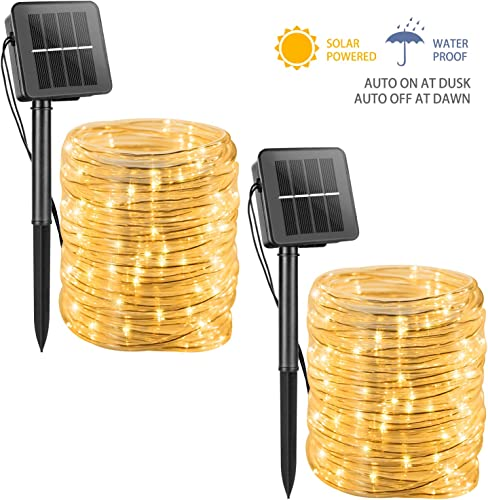 Solar Rope String Lights Outdoor 39FT 100 LED Waterproof Solar Powered Fairy Lights with 8 Lighting Modes, Copper Wire PVC Tube Lights for Garden Wedding Christmas Party DIY Decor Warm White, 2 Pack