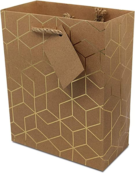 Amazon.com: 12 bolsas de regalo de papel kraft geométrico ...
