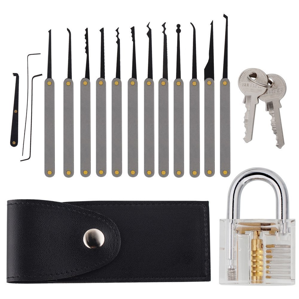 DXtech 15-Piece Lock Pick Set Professional Transparent Cutaway Padlock Practice Lock With Locksmith Tools for Lock Pick Training Trainer Practice Tontec