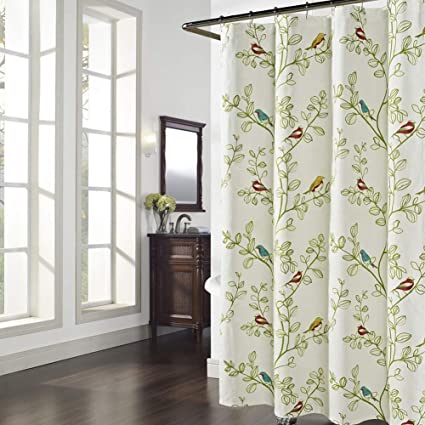 DS BATH Maria Green Leaves Shower CurtainFlower Polyester Fabric CurtainPlants