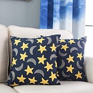 Taisier Home Pack of 2 Throw Pillow Covers Cases for Couch Sofa Home Decor Modern Embroidered Stars & Moon 18 X 18 Inches Navy Blue Abstract Night Sky Design Throw Pillow Cover